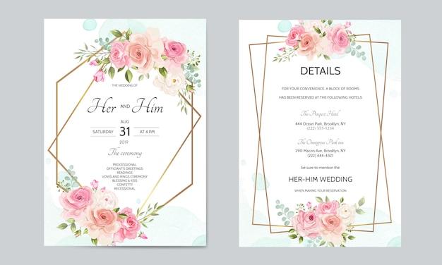 金色の境界線と美しい花葉入り結婚式招待状カードのテンプレート