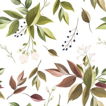 Красивые цветочные и листья бесшовные модели