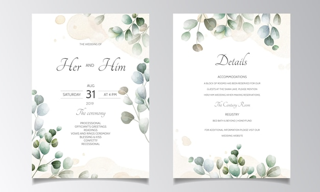 ユーカリの葉のテンプレートとの結婚式の招待カード