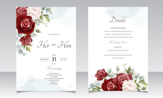 Красивый цветочный венок шаблон приглашения на свадьбу