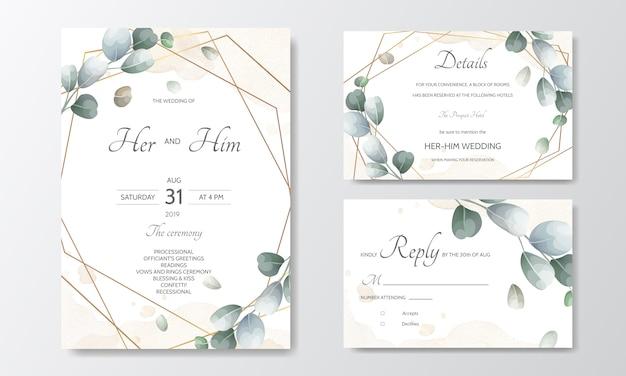 Рисованной зеленые листья свадебные приглашения