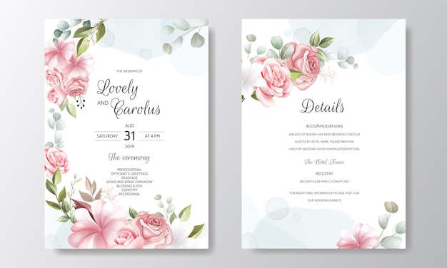 美しい花の花輪の結婚式の招待カードのテンプレート
