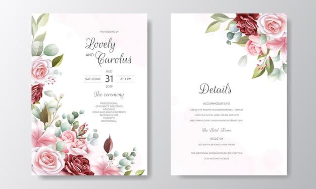 Свадебный шаблон приглашения с красивыми цветочными листьями