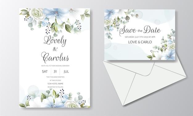 花飾り付きのエレガントな結婚式の招待カードテンプレート