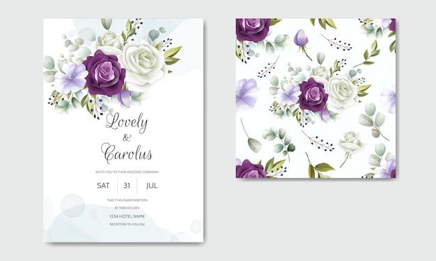 花のシームレスなパターンで設定されたエレガントな結婚式の招待カードテンプレート