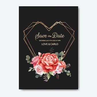 結婚式の招待カードは、美しいバラの花と葉を持つテンプレートを設定