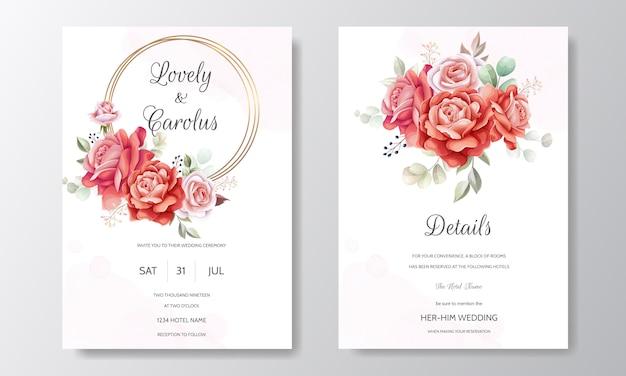 Свадебный пригласительный набор шаблонов с красивым розовым цветком и листьями