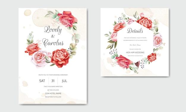 美しい花の花輪結婚式招待状カードのテンプレート