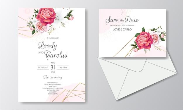 Красивые цветочные свадебные приглашения с цветущими розами и зелеными листьями