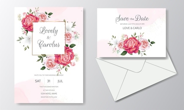 咲くバラと緑の葉を持つ美しい花の結婚式の招待状