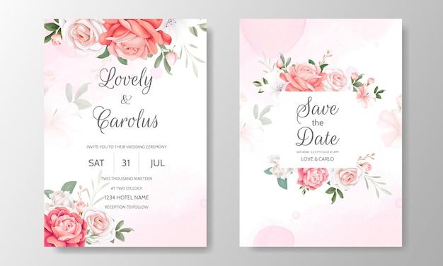 美しい花のボーダー入り花結婚式招待状カードのテンプレート