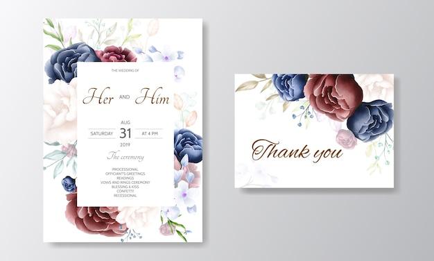 水彩花ボーダー入りの美しい花の結婚式の招待カードテンプレート