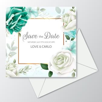 緑の花の葉とゴールドフレーム入り美しい結婚式の招待カードテンプレート