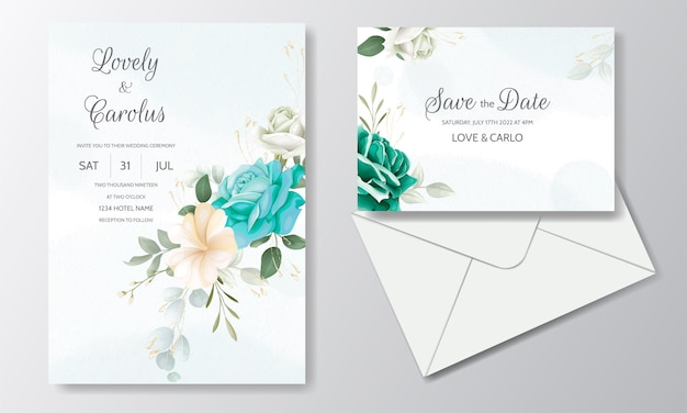 美しい結婚式招待状花の水彩画と緑の葉