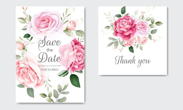 Красивые цветочные свадебные приглашения шаблон с акварелью
