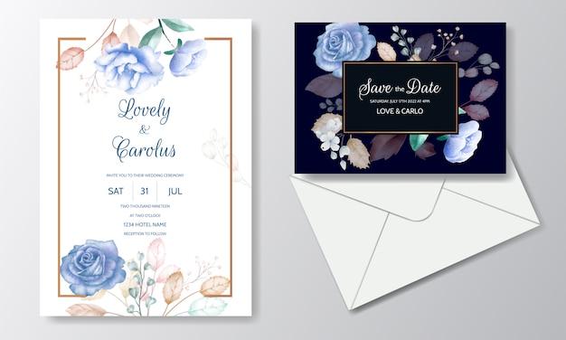 Акварель шаблон свадебного приглашения с цветком и листьями