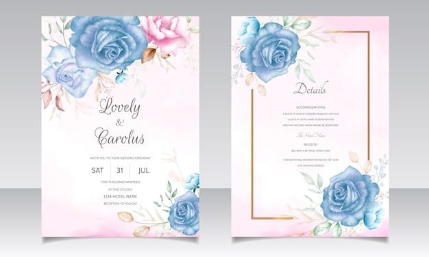 結婚式の招待カードは、美しい水彩花と葉を持つテンプレートを設定