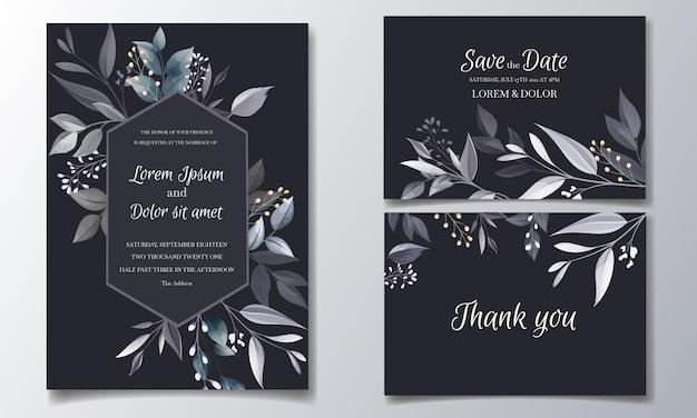 黄金の葉と水彩のネイビーブルーの花の結婚式の招待カードテンプレート