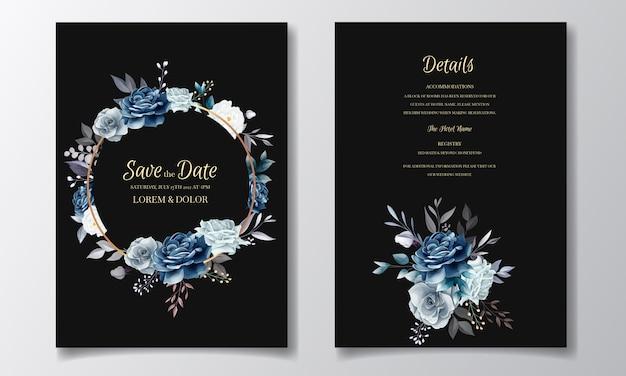 Темно-синий цветочный шаблон свадебные приглашения с золотыми листьями и акварель