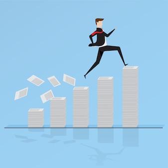 ビジネスマン、紙の上を走り回る