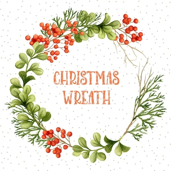 Рождественский венок акварели