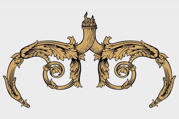 Винтажная рамка барокко лист прокрутки растительный орнамент гравюра границы ретро шаблон антикварный декоративный дизайн