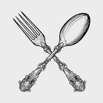 スプーンとフォークの刻まれたスタイルのベクトルイラスト