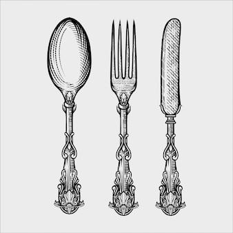 ビンテージスプーンフォークとナイフの手描きスケッチスタイルのイラスト