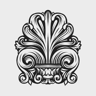 ビンテージダマスク織フレームリーフスクロール花飾りの彫刻