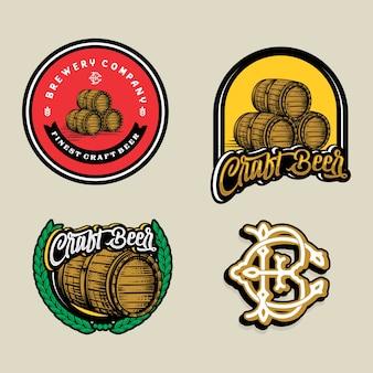 ビールのロゴ-イラスト、エンブレム醸造所のデザインを設定します。