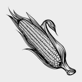 トウモロコシの手描きのビンテージ彫刻イラスト