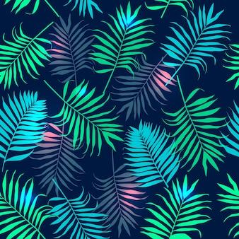 Бесшовные шаблон с красочными пальмовых листьев.