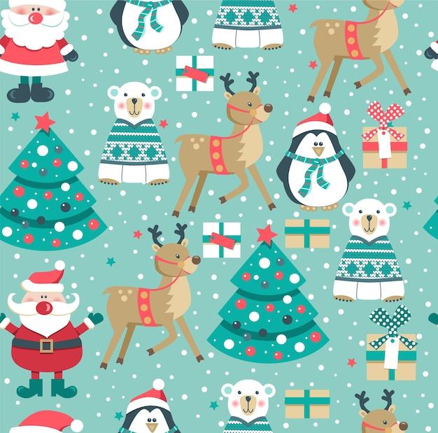 サンタとクリスマスシームレスなパターン。