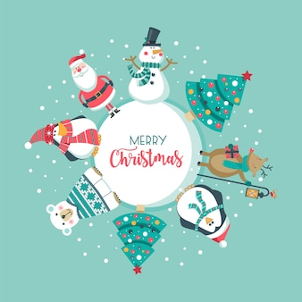 Веселая рождественская открытка.