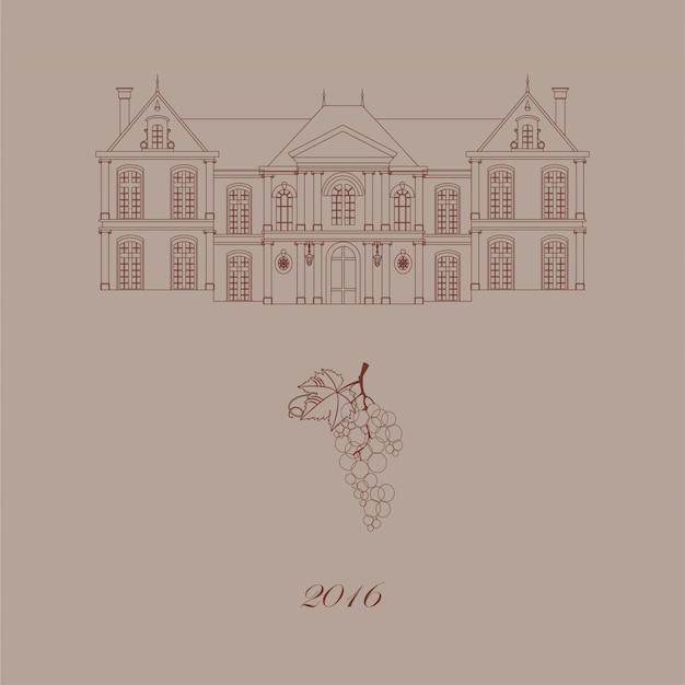 古い城とブドウのカード。
