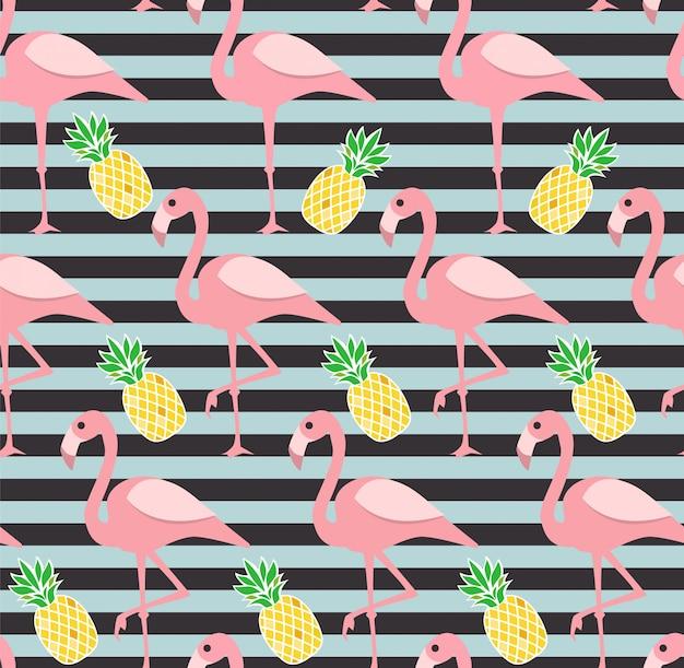 フラミンゴとパイナップルのシームレスなパターン。