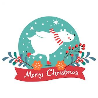 Рождественская открытка с ягодами, цветами, катание на коньках белого медведя.