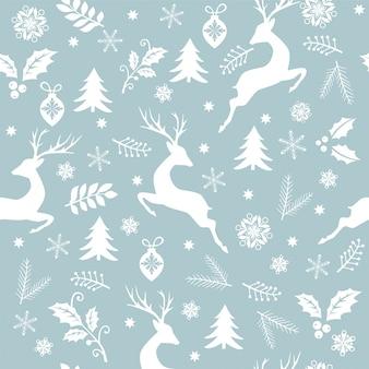 シームレスなクリスマスパターンホワイトツリー、鹿、葉、装飾品、雪
