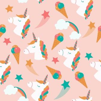 Бесшовный образец единорогов возглавляет, мороженое, звезды, облака и радуга.
