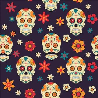 Бесшовный фон сахарный череп, цветы. мексиканский день мертвых.