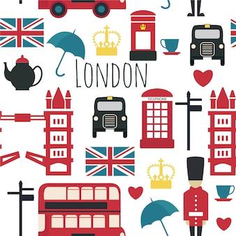ロンドンのシンボルとのシームレスなパターン。