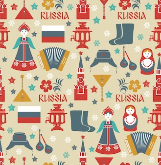 ロシアのシンボルとのシームレスなパターン。