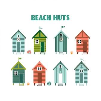 カラフルなビーチ小屋のセット。