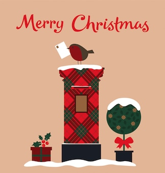 ポストボックス、ツリー、ロビンとメリークリスマスカード。