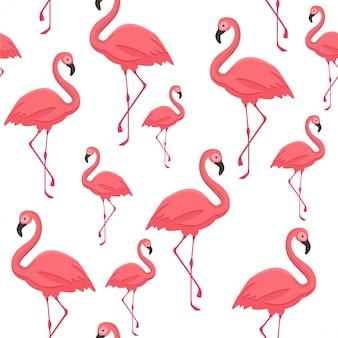 Бесшовный тропический узор с фламинго.