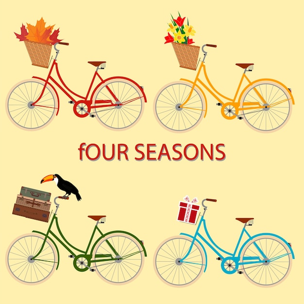 夏を象徴する自転車の四季のカード