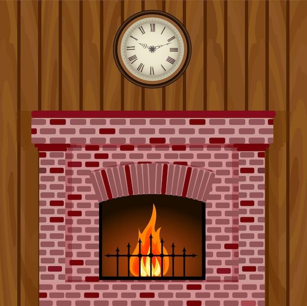 Карточка камина и часы на деревянной стене.
