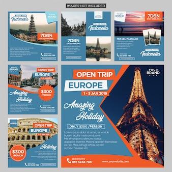 旅行の旅ソーシャルメディアポストデザインテンプレートプレミアムベクトル