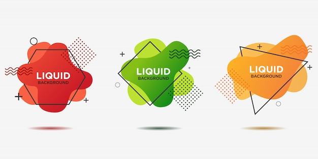 メンフィスデザインスタイルの概要と異なる色の平らな幾何学的図形。