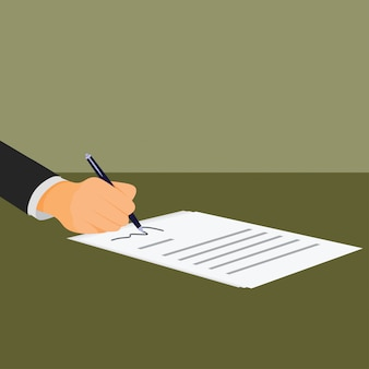 Бизнесмен подписывает документ с ручкой и контрактом